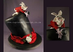 Amy's 21st (Dot Klerck....) Tags: flowers wedding rabbit rose cake chocolate capetown dot tophat ribbon madhatter aliceinwonderland topsyturvy fondantmodelling cupcakesbydesign