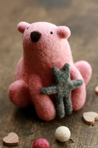 pink polar bear & his softie {needle felted}