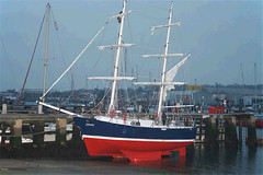 The Little Brigs (Mad Mariner) Tags: ocean water sailboat ship beached tallship squarerig littlebrigsailingtrust