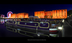 Canal boat moored at the Albert dock, with the wheel of Liverpool at night (comment++) (Ianmoran1970) Tags: blue orange white reflection brick water wheel night liverpool canal dock albert barge albertdock ianmoran wheelofliverpool ianmoran1970