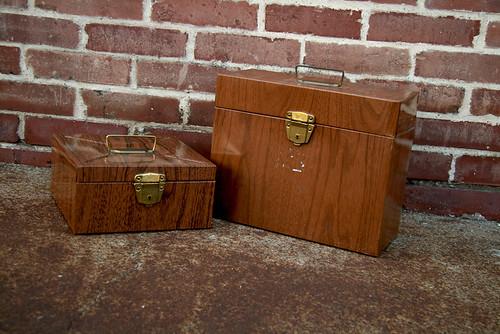 Pair of Faux Bois Porta Files Metal Box