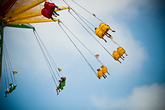 Flying (MissMae) Tags: blue sky people yellow ride sandiego fair honorablemention fairfun savagephotography 2010fair sandiegofair2011