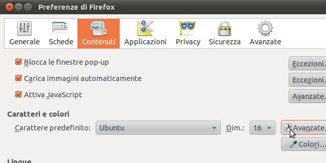 Figura 1 - Firefox: scelta dell'Ubuntu font family come carattere predefinito.