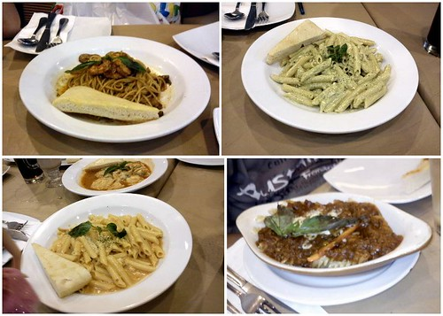 pizza hut pasta, penne in tomato cream sauce, pesto chicken penne, spaghetti shrimp garlic and mushroom, pizza hut 3-cheese ravioli