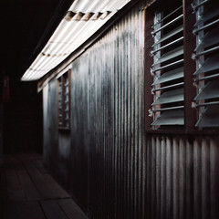 (*YIP*) Tags: wood shadow house 120 6x6 film window architecture mediumformat square photography day kodak nopeople structure sidewalk malaysia pro penang residential footpath narrow kiev60 iso160 pedestrianwalkway autaut builtstructure epsonv500 yipchoonhong