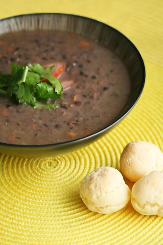 Black Bean Soup and Pao de Queijo