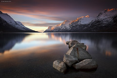Ersfjordbotn Sunset (Gary Newman) Tags: longexposure sunset mountains water norway still rocks arctic fjord tromso nd110 ersfjordbotn