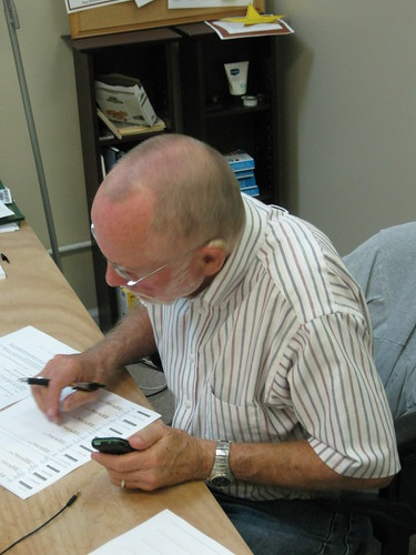 Steve Boyce making calls at Madison County Voter Phone Bank
