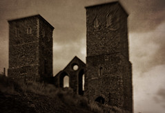 Illusory View ( Deena Walshe ) Tags: distortion texture sepia lensbaby kent grain eerie haunted creepy spooky reculvertowers canon450d lensbabymuse