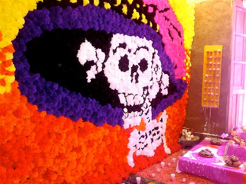 Installation in Tlaquepaque store....an entire wall was filled with paper flowers.