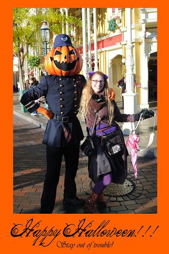 with pumpkin cop