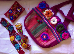 Souvenirs from Peru (LauraLRF) Tags: flowers flores alpaca peru colors inca bag belt lima embroidery crochet colores mercado purse bolso bordados correa tejido cinturon monedero ganchillo
