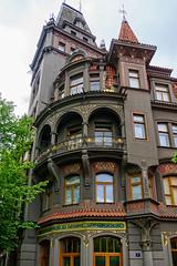 Style? Hodgepodge, probably (Tiigra) Tags: prague czechia cz 2017 architecture balcony city column lattice modern mosaic ornament window arch