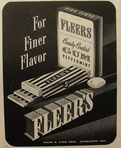 1940s FLEER chewing gum vintage illustration advertisement by Christian
