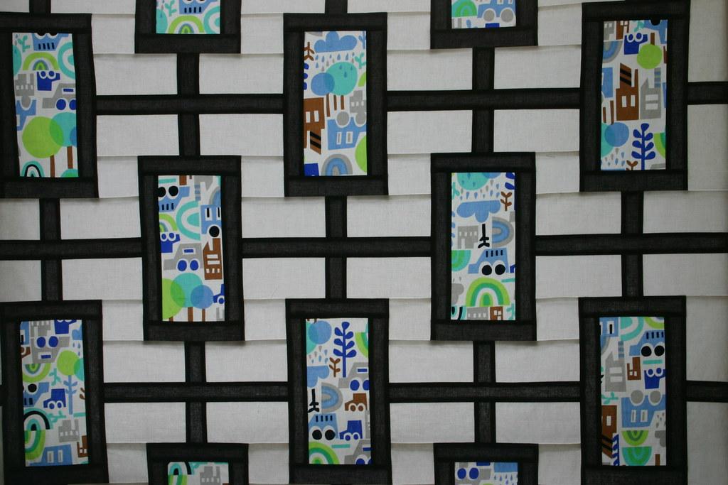 Modern Rainbow Garden Quilt Closeup