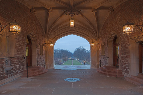 Washington University, in Saint Louis, Missouri, USA - view from Brookings Hall archway 2