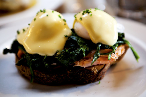 Tea smoked salmon benedict