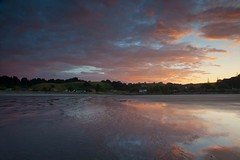 Ohope Beach Sunset (SF knitter) Tags: sunset newzealand beach clouds canon reflections stream 5d eastern markii bayofplenty ohope maraetotara