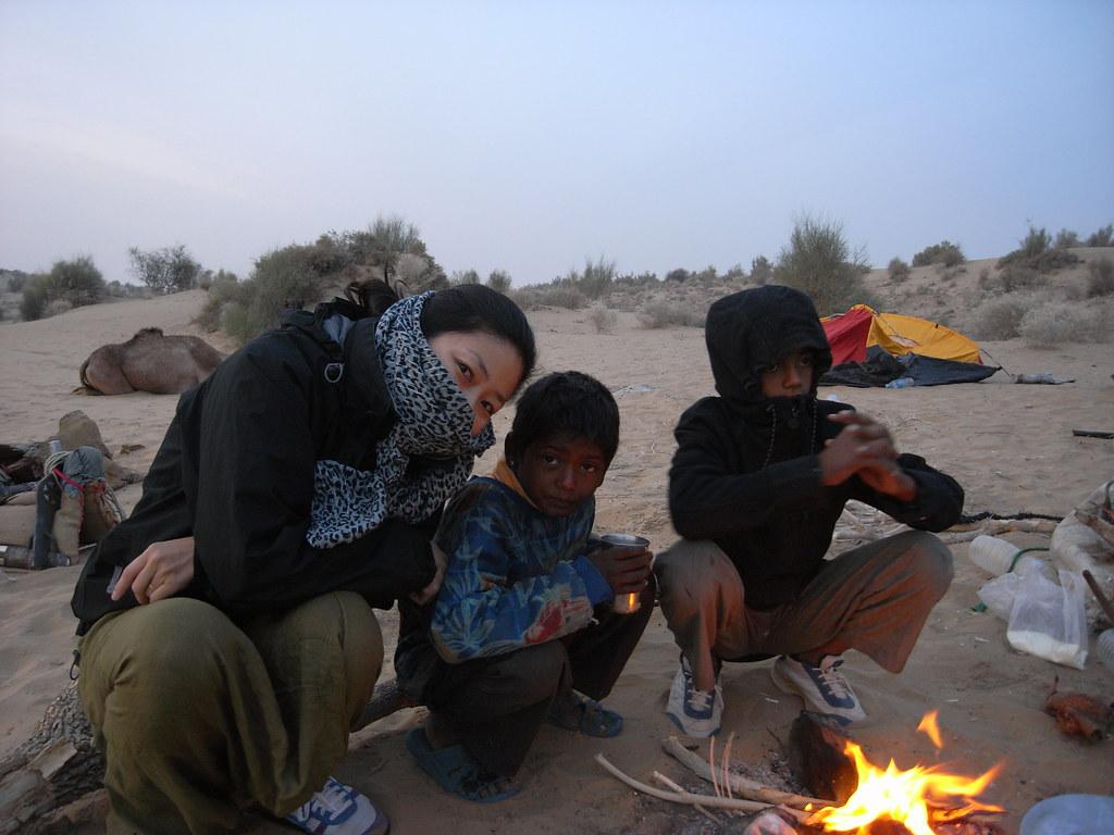 desert children cooking breakfast