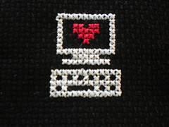 Love your PC? (Stitch Duchess) Tags: love computer pc crossstitch glowinthedark stitchduchess