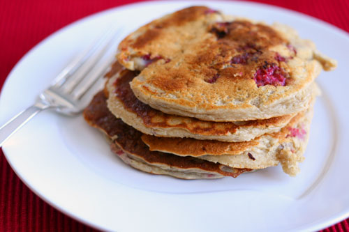Lightened Up Raspberry Applesauce Pancakes