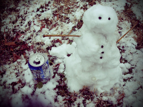 Snowman and His Frosty Beverage