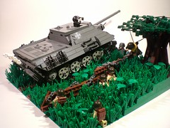 "Tank Contest Entry: ""Finding Cover"" (PhiMa') Tags: france tank lego nazi wwii ww2 panther normandy worldwar2 hedgerow allies bocage jagdpanther operationoverlord tankdestroyer brickarms brickforge"