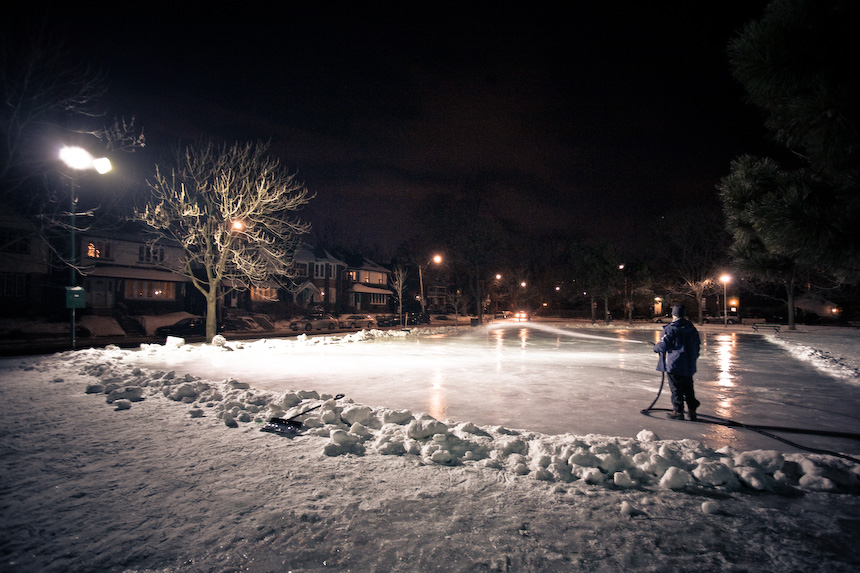 Some neighbourhood volunteers are making a skating rink in a park  next to my apartment. I <3 The Annex.