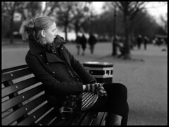 Serpantine walk (ted.kozak) Tags: light portrait bw bench hydepark 6x45 serpantine ieva selfdeveloped kozak sekor mamiyarz67proii film:iso=400 fomafomapan tedkozak tadaskazakevicius film:brand=foma developer:brand=agfa filmdev:recipe=5559 agfar09oneshot film:name=fomafomapan400 developer:name=agfar09oneshot