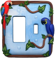 Custom Light Switch Plate with Macaws (parrotjewelry) Tags: light switch parrot plate polymerclay custom macaw hyacinth switchplate greenwingedmacaw greenwing