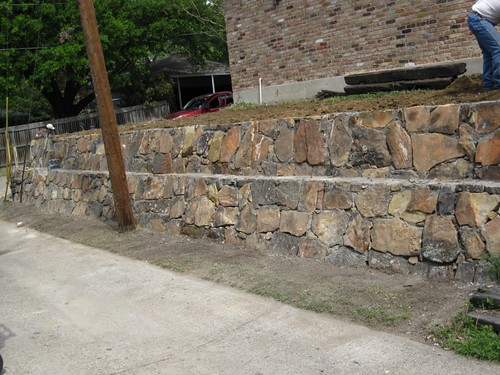Retaining wall landscape construction