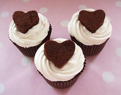 Valentine cupcakes (Beach House Bakery) Tags: pink red house beach glitter bristol cupcakes heart chocolate swiss fudge valentine cupcake sprinkles bakery brownie meringue frosting