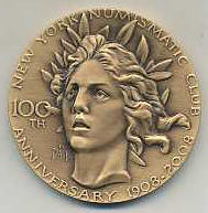 NY Numismatic Club 100 Years Medal Obv