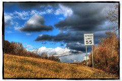55 (Proleshi) Tags: sky naturaleza brown tree nature beautiful grass sign skyline clouds speed skyscape landscape nikon natural cloudy five hill roadside shrub canopy 55 treeline limit mph hdr fifty vast d60 puffywhiteclouds shrubery firmament 4exp proleshi