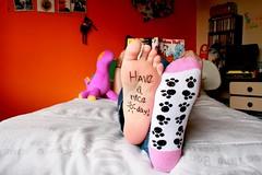 Have a nice (sun)day! (Honey Pie!) Tags: feet socks foot book bed ps livro cama myroom p meias calvinhobbes pelcia haveaniceday orangewall meuquarto yukonho temno haveanicesunday calvineharoldo paredelaranja tenhaumbomdomingo tenhaumbomdia
