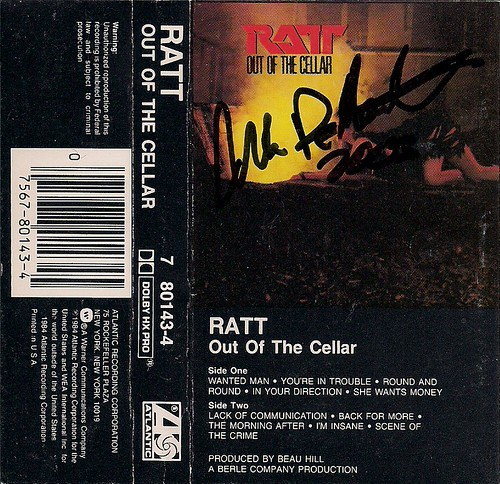 1984 Ratt Out Of The Cellar Cassette J-Card (Autographed by Warren DeMartini)