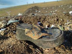 sandy (Trucker Gloom) Tags: abandoned trash shoe garbage sandy dirty sandal landfill