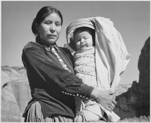 """Navajo Woman and Infant, Canyon de Chelle, Arizona."" [Canyon de Chelly National Monument]"