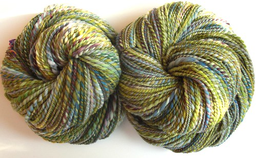 2 skeins Rambouillet yarn, total ~ 466yds, 8-10 WPI, 2-ply
