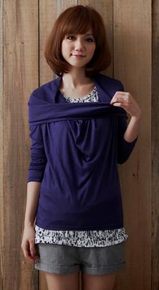 你拍攝的 E56069U    輕氛日系˙素面百變領口設計棉質穿搭上衣      藍紫      290。