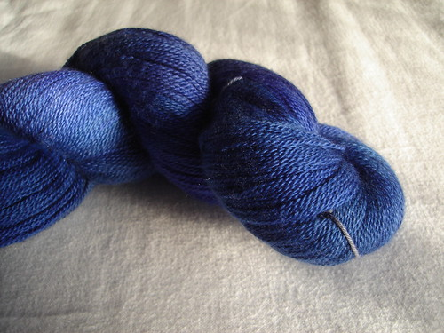 sparkleduck blue laceweight close up