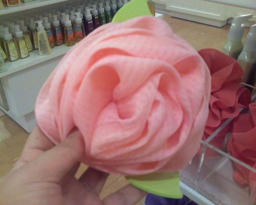 Pink rose loofah at Bath & Body Works.