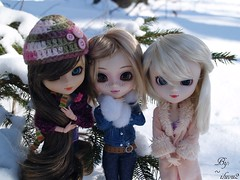 Freezing Girlies [Kirsten, Hoshi, & Cali] (Ti Amo) Tags: family winter friends white snow tree cute cali pinetree pine sisters season outside doll dolls boots cousins freezing pullip nina sweethearts custom kirsten blanche cuties pullips jackets hoshi aquel dollies dollie sbh pullipdolls obitsu rewigged pullipnina rechipped pullipblanche pullipaquel iluvu2~ fleshstone obitseed