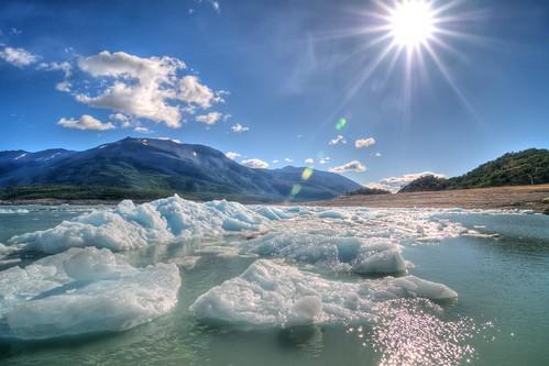 Sun Over Icebergs