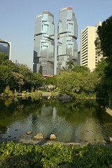 Lippo Centre towers seen from Hong Kong park (dkdali) Tags: china park trees island hongkong lippocentre thekoalatree