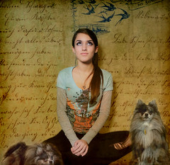 E II (Kathleen Wilke Photography) Tags: dog pet texture writing dale daughter e merlin layers pomeranian pest thedantecircle themonalisasmile