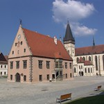 Bardejov: Historic Town Hall on the square with Basilica minor in background