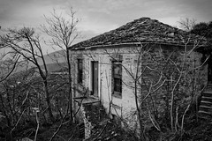 Abandoned (colivery) Tags: door trees roof bw house mountain abandoned window dark greek interesting gloomy hill greece gloom pelion delerict