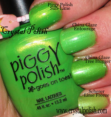 Bright Green Shimmer Comparison (CrystalPolish) Tags: green shimmer scherer chinaglaze piggypolish