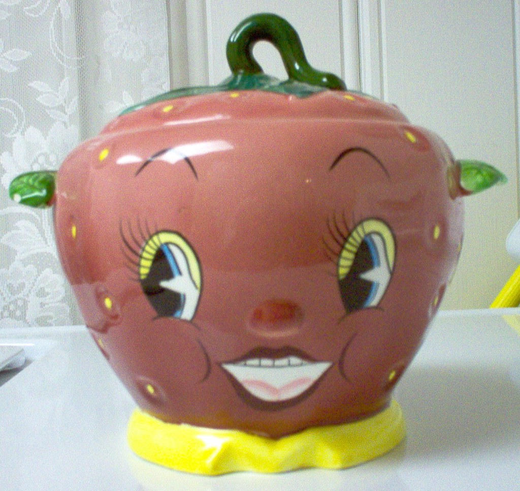 PY Anthropomorphic Strawberry Face Cookie Jar